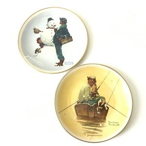 Norman Rockwell 1976 Limited Edition 2 Plate Combo